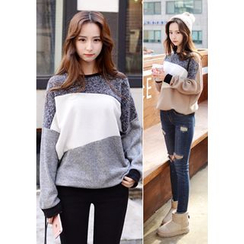 DEEPNY - Drop-Shoulder Three-Tone Sweater