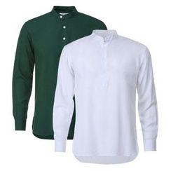 Seoul Homme - Mandarin-Collar Half-Placket Shirt