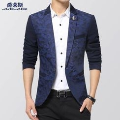 Jazz Boy - Notched-Lapel Camouflage-Print Single-Button Blazer