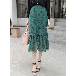 BBAEBBAE - Lace-Overlay Ruffle-Hem Long Skirt