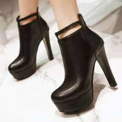 JY Shoes - Faux Leather Heeled Ankle Boots