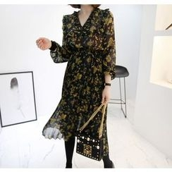 Miamasvin - Gathered-Waist Flower Pattern Chiffon Long Dress