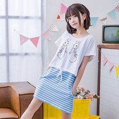 Moriville - Set: Rabbit Printed Short-Sleeve T-shirt + Stripe Tank Dress
