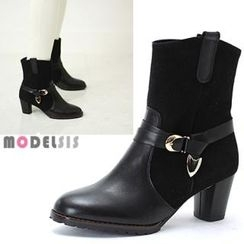 MODELSIS - Genuine Leather Suede-Trim Ankle Boots