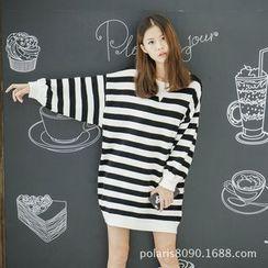 Polaris - Striped Mini Sweater Dress