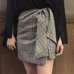 Dute - 套装: 开衩长袖T恤 + 格子迷你裙