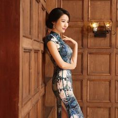 Janelle Qipao - Cap-Sleeved Printed Long Qipao