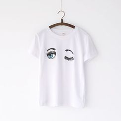 Bonbon - Sequined Embroidered T-Shirt