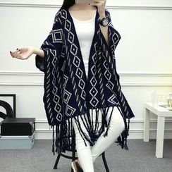 Sugar Town - Argyle Pattern Knit Poncho