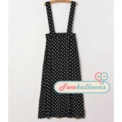 JVL - Polka Dot Suspenders Maxi Skirt