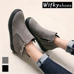 Wifky - Zip-Detail Platform Ankle Boots
