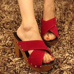 HOONA - Cross Strap Block Heel Slide Sandals