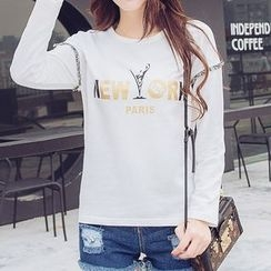 Carabecca - Fringed Lettering Long Sleeve T-Shirt