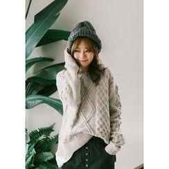 GOROKE - Dip-Back Waffle-Knit Sweater