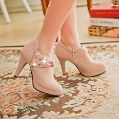 YOUIN - Chunky-Heel Bow-Accent Shoe Boots