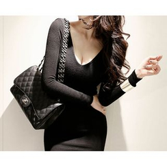 Marlangrouge - Inset Bra-Cap Knit Bodycon Mini Dress