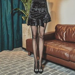 UUZONE - Inset Inner Shorts Ruffle-Hem Mini Skirt