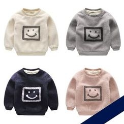 lalalove - Kids Smiley Fleece-lined Sweatshirt