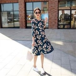 mayblue - Pleat-Hem Floral Print Dress