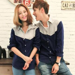 Evolu - Couple Color-Block Shirt