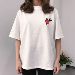 Dute - Flower Embroidered Short Sleeve T-Shirt