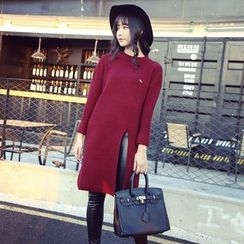 Coolvibe - Long-Sleeve Slit-Front Long Sweater