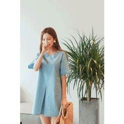 Cherryville - Short-Sleeve Slit-Detail Mini Shift Dress