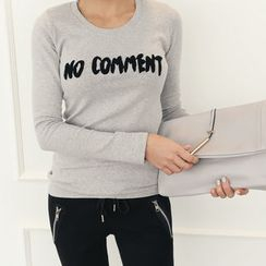 DANI LOVE - Letter Appliqué Brushed-Fleece T-Shirt