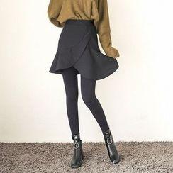 Seoul Fashion - Band-Waist Asymmetric Ruffle-Hem Mini Skirt