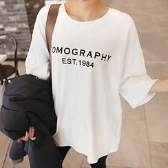 Seoul Fashion - Elbow-Sleeve Lettering Oversized T-Shirt