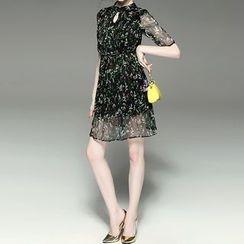 Alaroo - Keyhole Neck Organza Dress