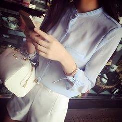 Shimi - 3/4-Sleeve Tie Cuff Chiffon Shirt