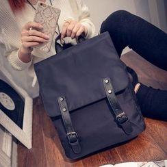 Seok - Flap Nylon Backpack