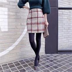 Styleberry - Wool Blend Check Skirt