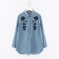 Meimei - Embroidered Denim Blouse