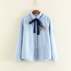 Mushi - Embroidered Cat Bow Pinstripe Blouse