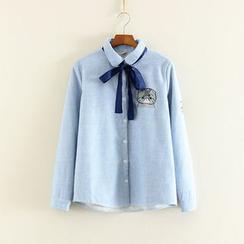 三木社 - 刺繡貓蝴蝶結細直條紋襯衫