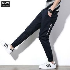 Masowild - Letter Embroidered Drawstring Jogger Pants