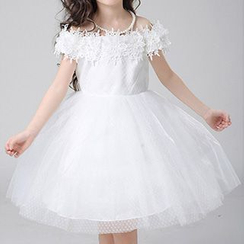 HELLO BABY - Kids Off-Shoulder Tulle Dress