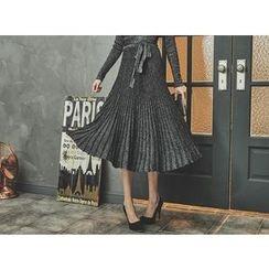 UUZONE - Glitter Midi Surplice Wrap Knit Dress