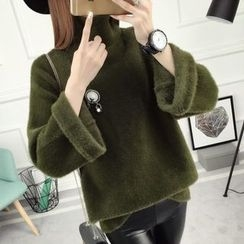 anzoveve - Plain High Neck Sweater