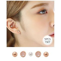 Miss21 Korea - Stud Earrings (5 pcs)