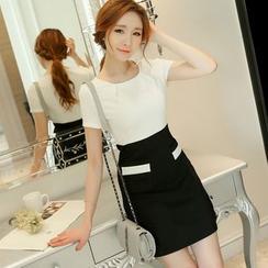 Nyssa - Two-Tone Short-Sleeve Dress
