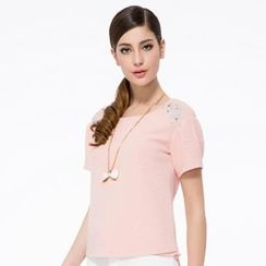 O.SA - Short-Sleeve Rhinestone Embroidered Layered Top