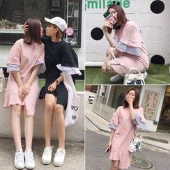 氣質淑女 - 荷葉中袖T恤裙