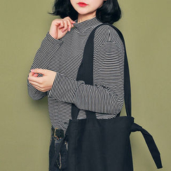 HOTPING - Mock-Neck Striped Top