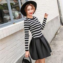 PPGIRL - Mock Two-Piece Striped Neoprene Dress