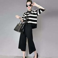 Champi - Set: Elbow-Sleeve Striped Top + Cropped Wide Leg Pants