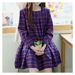 Sechuna - Square-Neck Plaid Wrap Dress