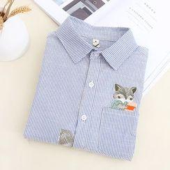 布衣天使 - 刺绣条纹衬衫